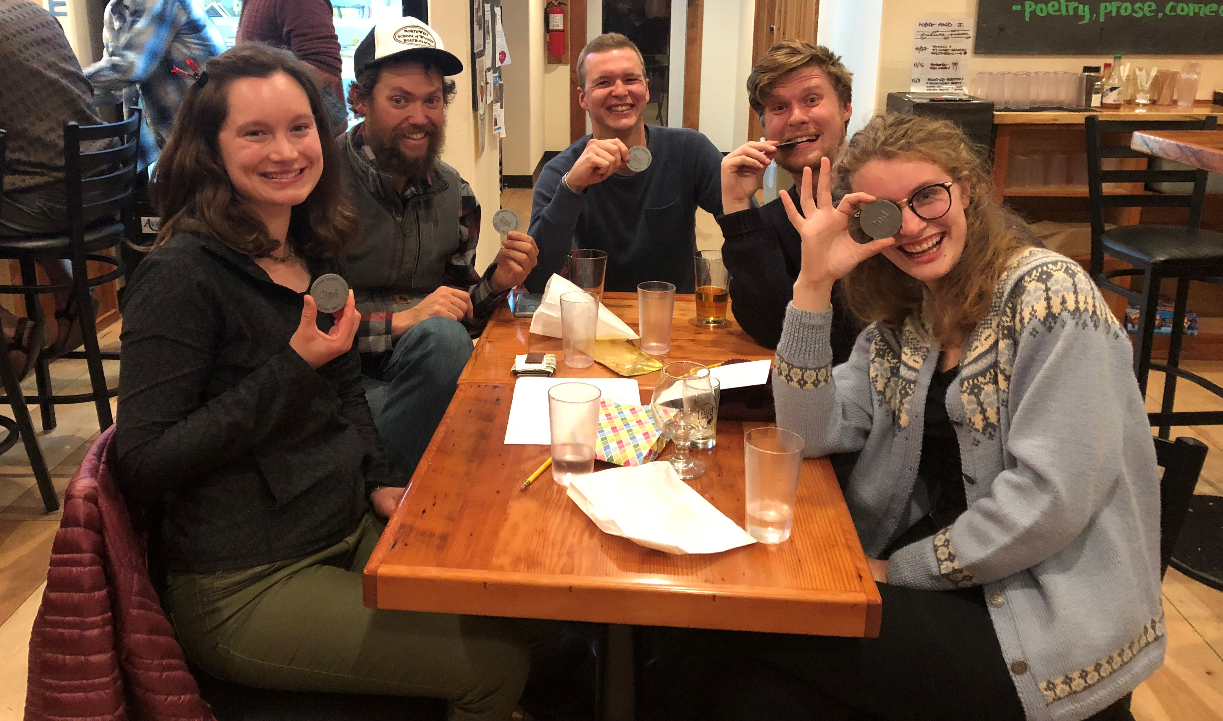 Group of adults sitting at a table during a trivia event