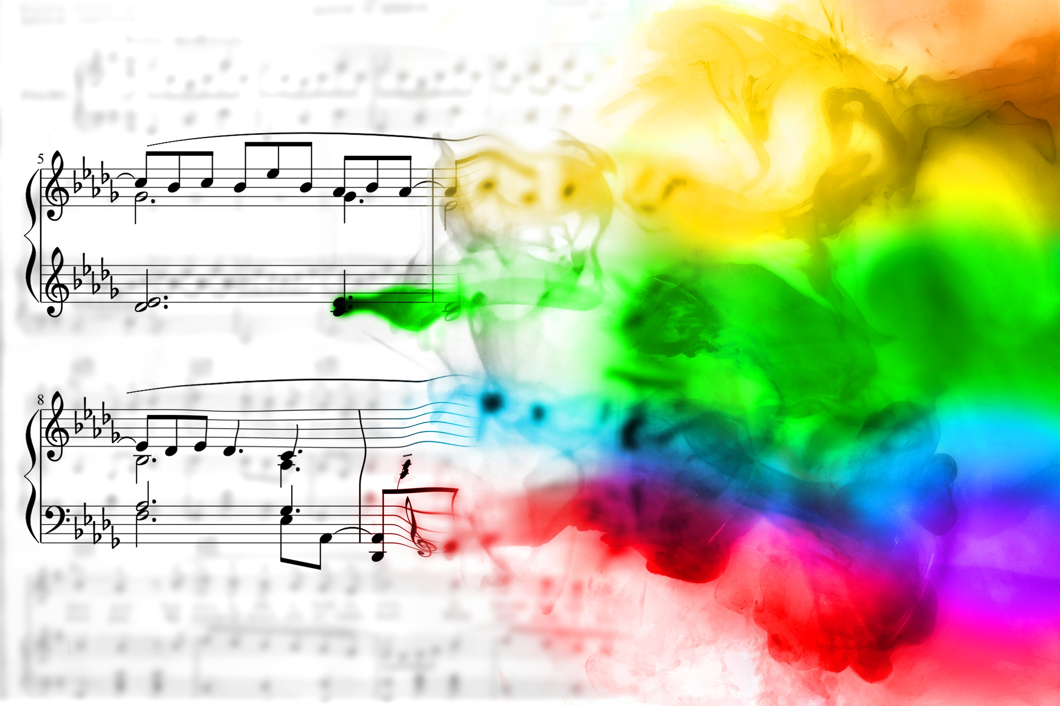 Image of musical notes blending in to watercolors.
