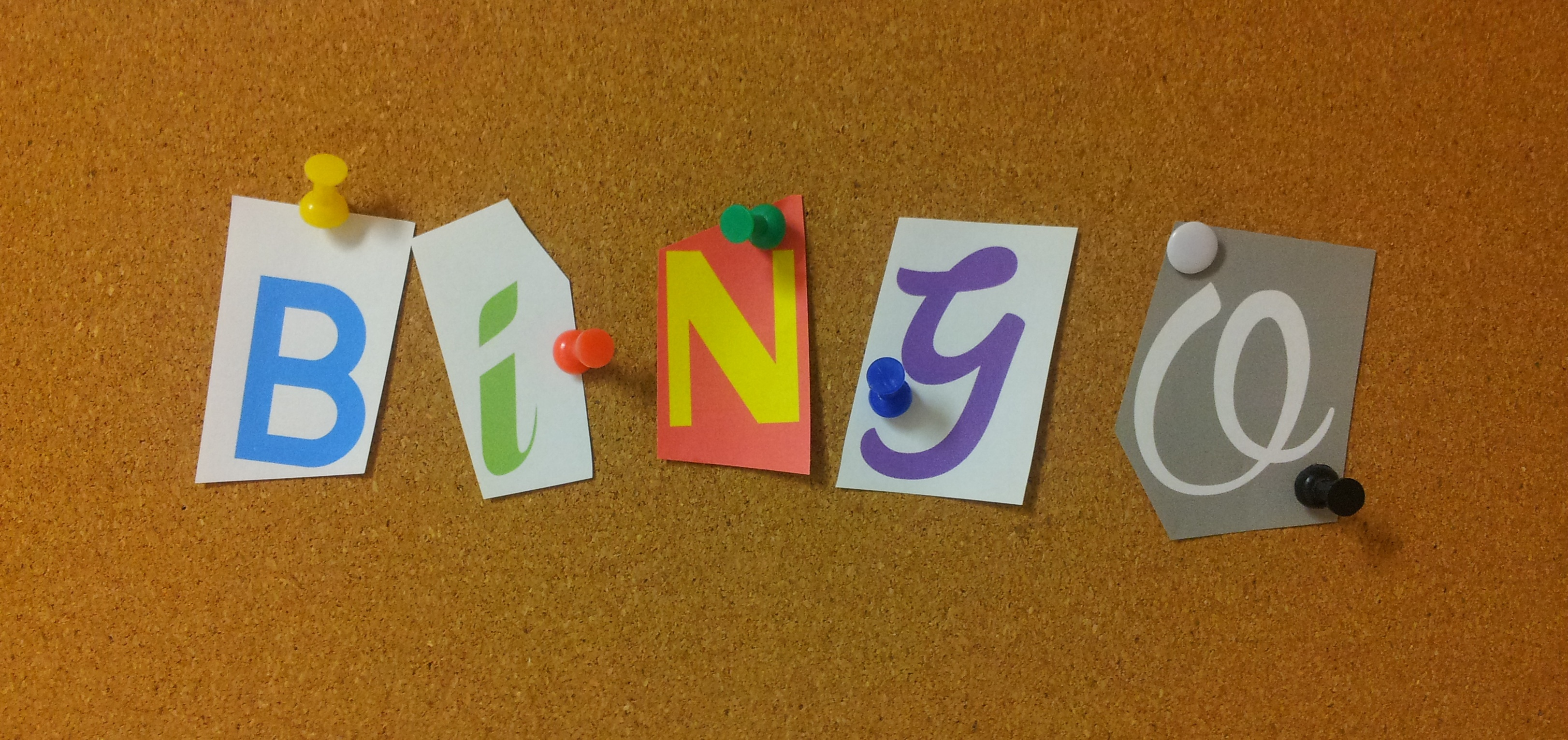 The word Bingo spelled out on a bulletin board