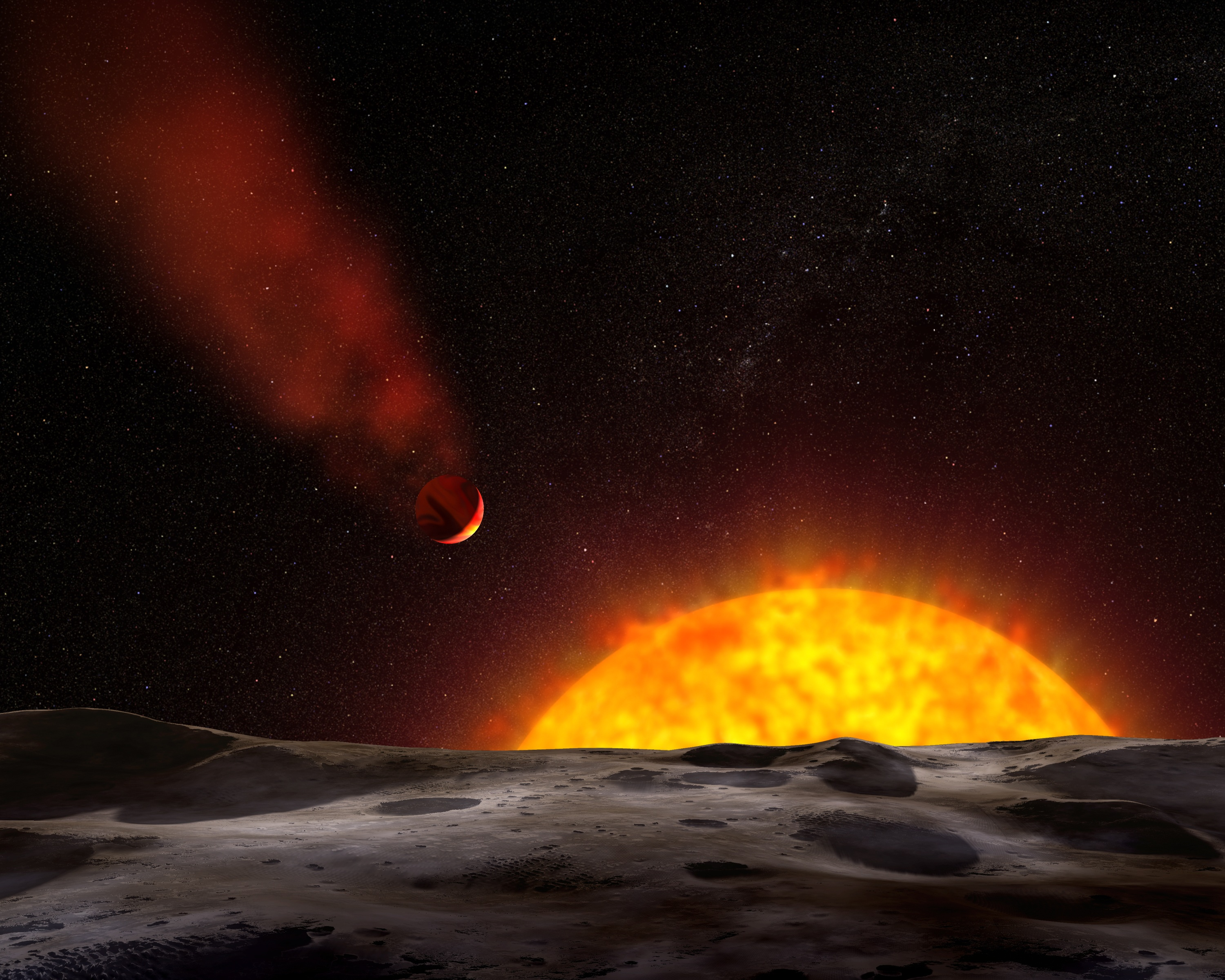 Surface of a planet with sun and an exoplanet in the background
