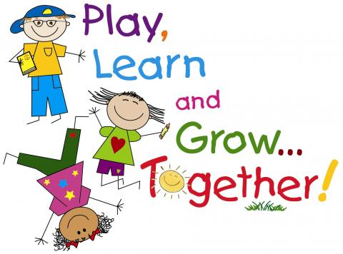 Drawing of kids playing and learning together.