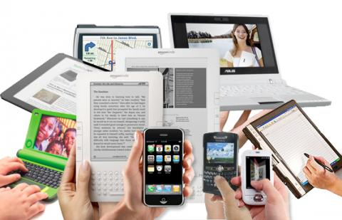 Array of phones, tablets, and ereaders