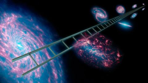 Artist's concept of the Cosmic Space Ladder showing a series of stars that have known distances.