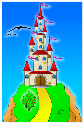 Vector graphic of a colorful castle on a hill